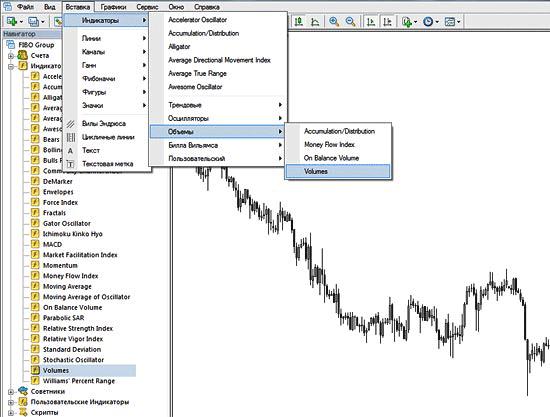 РИС. 1   Индикатор Volumes в терминале МТ