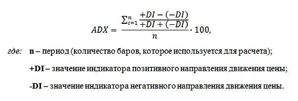 Формула расчета ADX